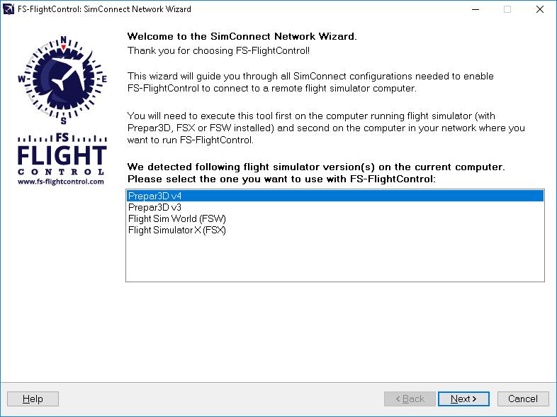 SimConnect Network Wizard - FS-FlightControl Manual